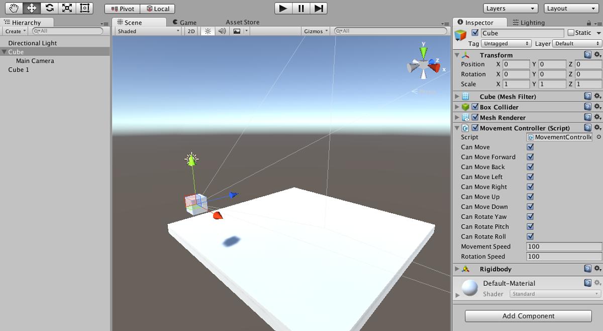 Unityでの空間移動用のスクリプト